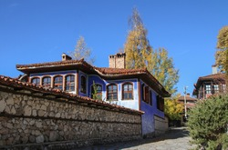 Autumn in the old town of Koprivshtitsa in Bulgaria famous for its traditional revival houses