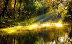 Autumn lake mist