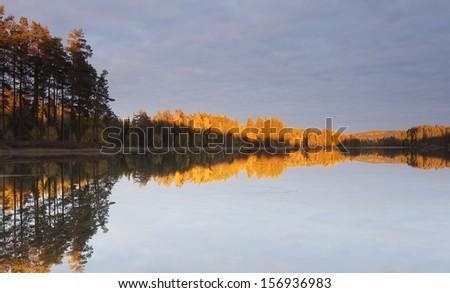 Autumn lake scene from nature reserve Malingarna, Sweden