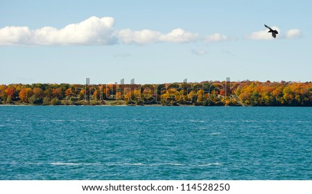 Autumn lakefront view  on Manitoulin Island, Canada.