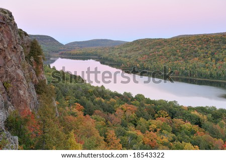 Autumn landscape at twilight, Lake of the Clouds, Porcupine Mountains Wilderness State Park, Michigan's Upper Peninsula, USA