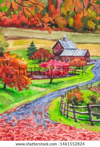 Autumn landscape. Beautiful country nature. Farm, house, barn. Fall forest