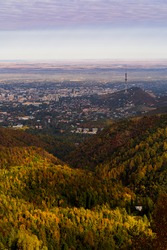 Autumn landscape, cityview from the mountains
