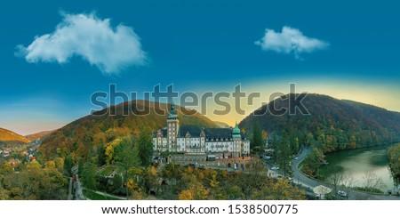 Autumn landscape of Lillafured, Hungary, Colorful forests, fantastic mood. Amazing travel destination. Hotel palota. Stock fotó ©