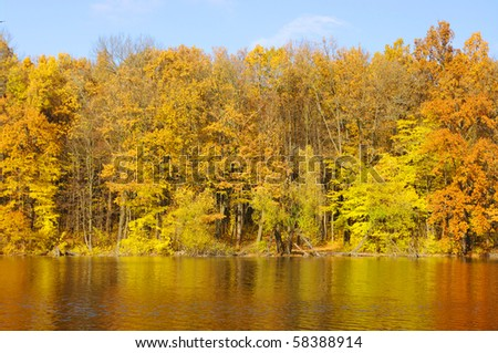 autumn landscape of river