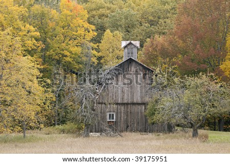 Autumn landscape of weathered barn, Port Oneida Historic District, Sleeping Bear Dunes National Lakeshore, Michigan, USA