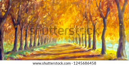 Autumn landscape oil painting - gold orange autumn trees in sunny park alley. Autumn in forest wood fine art illustration