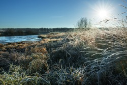 Autumn landscape on the river with grass covered with frost. Chik river, Kolyvan, Novosibirsk region, Western Siberia, Russia