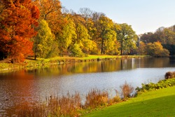 Autumn Landscape. Park in Autumn. The bright colors of autumn in the park by the lake.