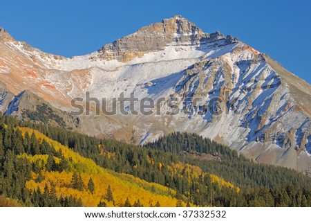 Autumn landscape, San Juan Mountains with conifers and aspens, Colorado, USA