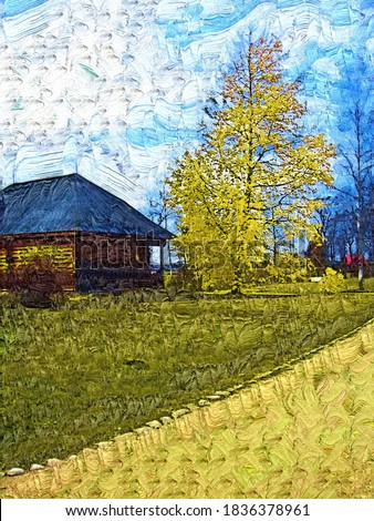 Autumn landscape. Tree, house and road in the village of Mikhailovskoye in the birthplace of the poet Pushkin in the style of Oil painting Fauvism