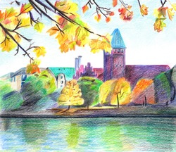 Autumn Landscape. View of the river and castle