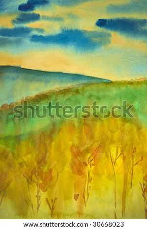 Autumn landscape watercolor, my own handwork