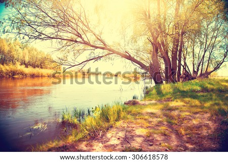Autumn landscape with a river. Beautiful autumnal scene, fall
