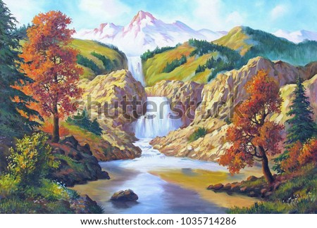 autumn landscape with a waterfall, oil on canvas