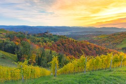 Autumn landscape with South Styria vineyards, known as Austrian Tuscany, a charming region on the border between Austria and Slovenia with rolling hills, picturesque villages and wine taverns