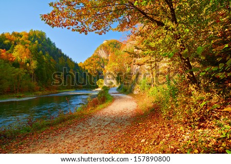 Autumn landscape with The Dunajec River Gorge. Pieniny Mountains view from Slovakia.
