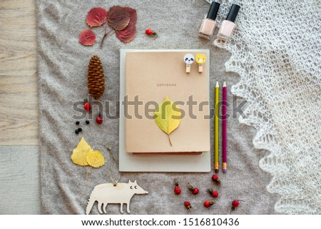 autumn layout of stationery in warm colors: notebooks, notebooks, pencils with natural decor: leaves, fruits, cones, wooden toys on a knitted brown background
