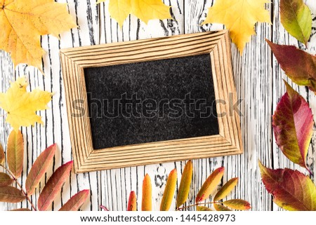 Autumn leaf composition with picture frame. autumn still life. fall season, thanksgiving concept. Top view, copy space