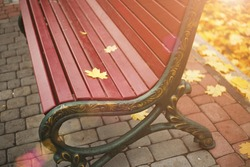 autumn leaf on the bench. Yellow maple leaf, red bench