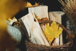 Autumn leaves and firewood in a basket on a black background. Wallpaper