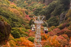 Autumn leaves and ropeway of Kankakei