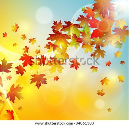 Autumn leaves background, raster illustration