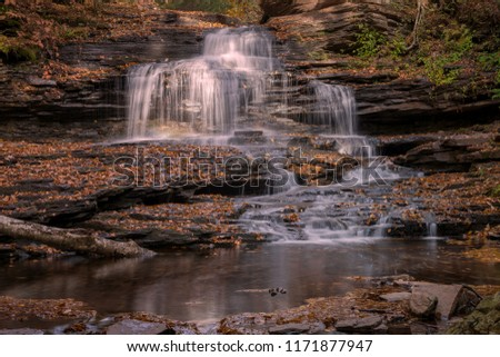 Autumn Leaves Cover Rocks Surrounding a Waterfall in Ricketts Glen State Park in Pennsylvania