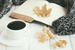 Autumn leaves, cup of coffee, warm knitted scarf and open old book. Cozy home reading concept. Retro nostalgic mood