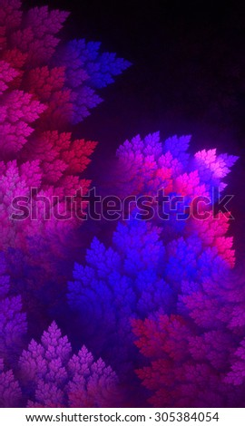 Autumn leaves, fractal leaves, abstract texture. Fractal art background for creative design. Decoration for wallpaper desktop, poster, cover booklet.