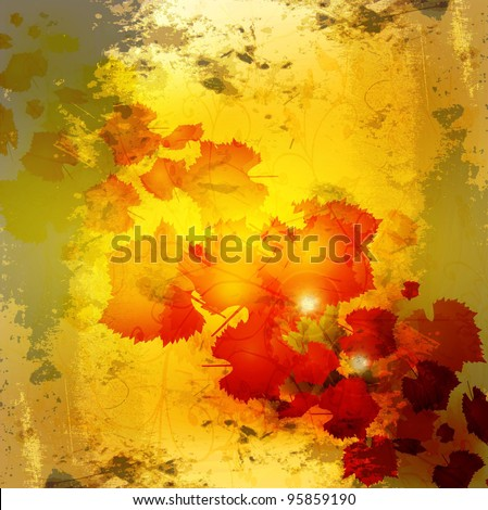 Autumn leaves grunge background