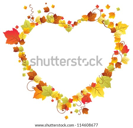 Autumn leaves in the heart frame, beautiful background