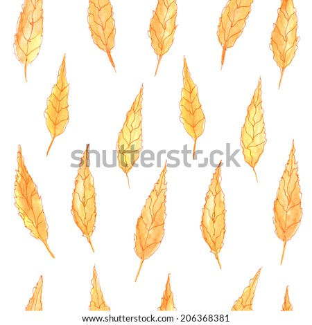 Autumn leaves. Seamless pattern with yellow leaves. Watercolor paint. Autumn pattern.