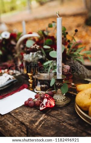 Autumn location, autumn decor, rocking chairs. Wedding party familylove concept #1182496921