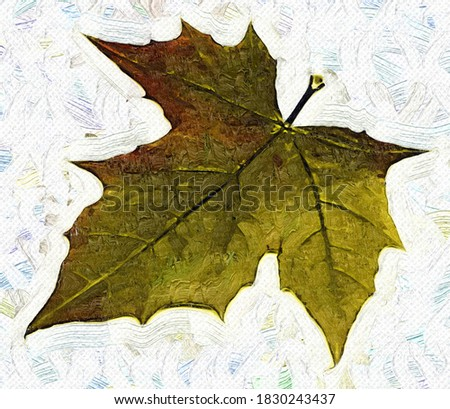 Autumn maple leaf in a the style of oil painting Fauvism