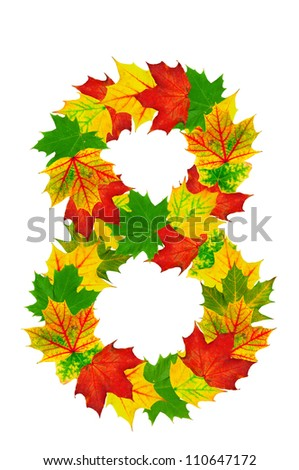 Autumn maple Leaves in the shape of number 8 isolated on white