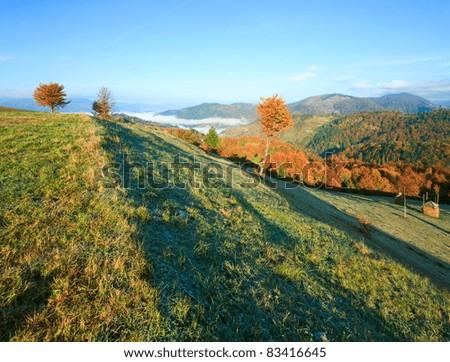 Autumn misty morning hill with stack of hay (Mighgirya village outskirts, Carpathian Mt's, Ukraine).