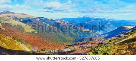 Autumn misty morning mountain panorama (Carpathian Mt's, Ukraine). #327637685