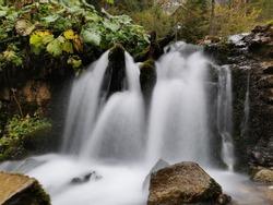 Autumn Montain Waterfall.  Nature White Waterfall