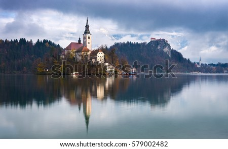 Stock Photo Autumn morning at Lake Bled