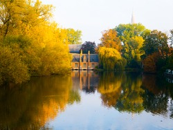 Autumn morning in Bruges at Lake of Love, or Minnewater, Belgium