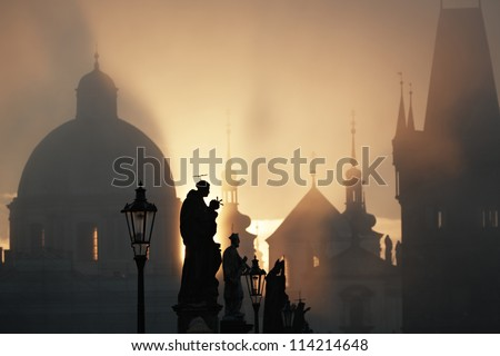 Autumn morning - Statues on Charles Bridge, Prague, Czech Republic