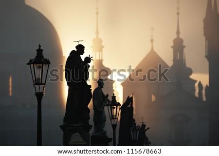 Autumn morning - Statues on Charles Bridge, Prague, Czech Republic