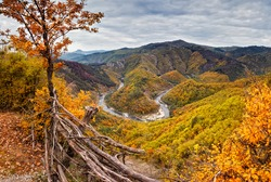 Autumn mountain. Amazing autumn view of one of the meanders of Arda River, Bulgaria.