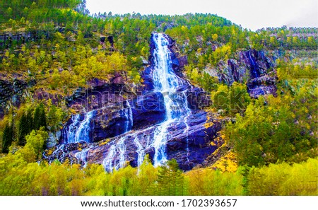Autumn mountain forest waterfall landscape
