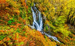 Autumn mountain forest waterfall view. Autumn waterfall in mountain forest. Mountain frest waterfall in autumn