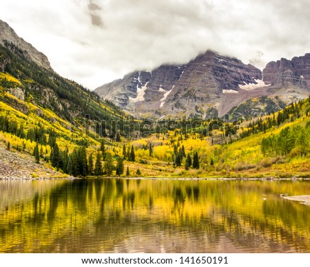 Autumn mountain lake landscape on a cloudy day. Colorado, USA