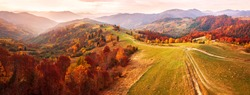Autumn mountain panorama. Dirt road on top of the hills. Sunny landscape with meadow and colorful forest. Red, Yellow, Orange trees on hillsides. Carpathians, Ukraine, Europe.
