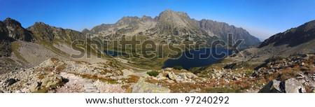 Autumn Mountain panorama in High West Tatras