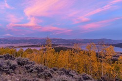 Autumn Mountain Sunset - A colorful Autumn sunset view at Twin Lakes, Leadville, Colorado, USA.